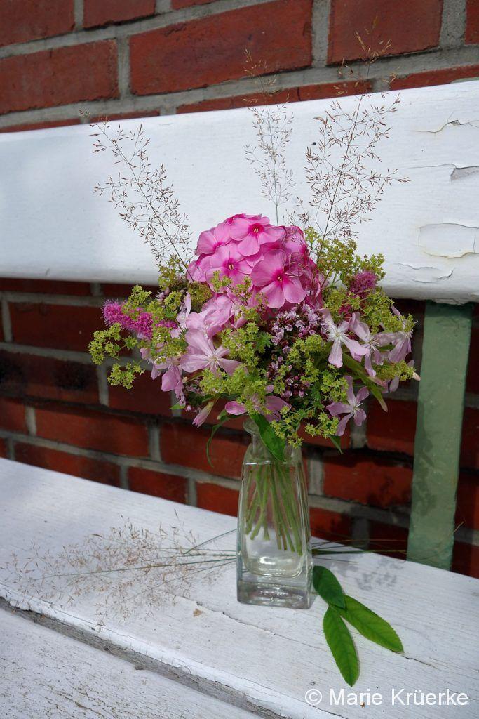 Blumen auf der Gartenbank